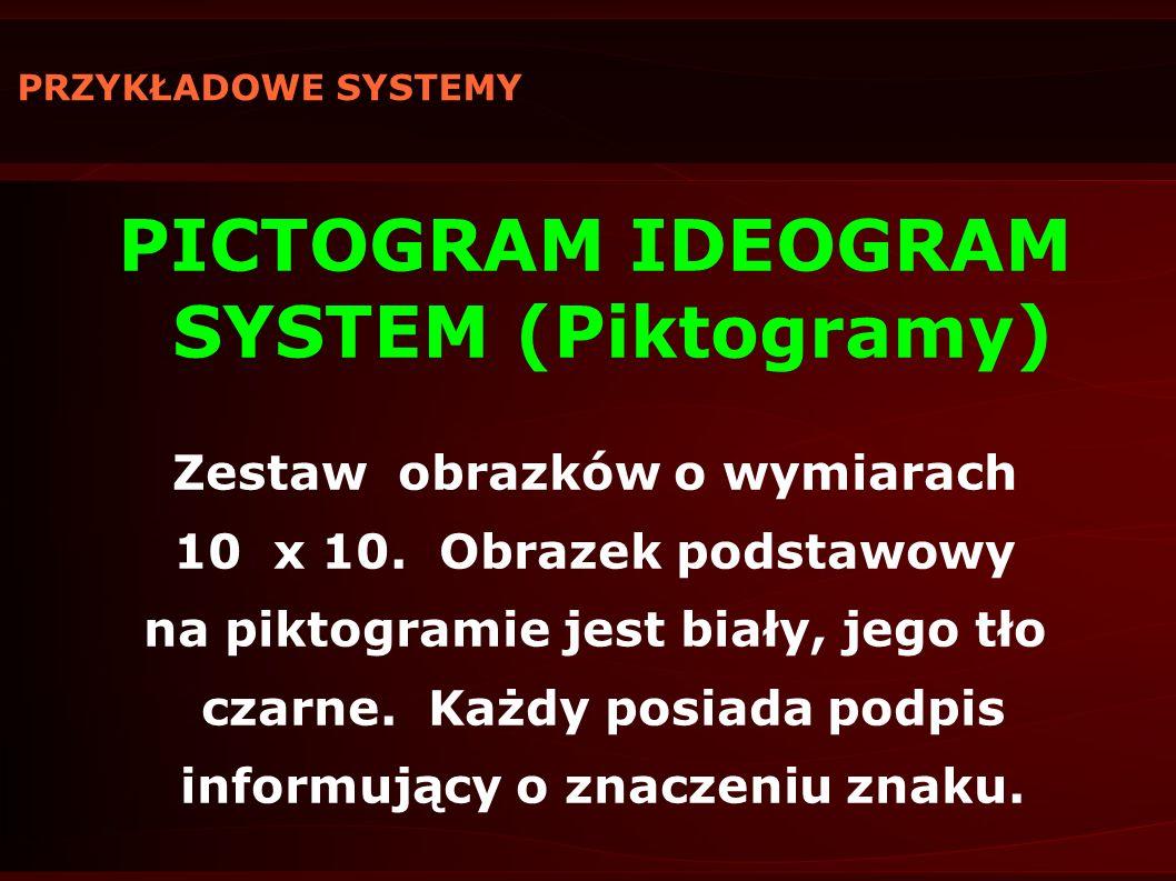 PRZYKŁADOWE SYSTEMY PICTOGRAM IDEOGRAM SYSTEM (Piktogramy) Zestaw obrazków o wymiarach 10 x 10. Obrazek podstawowy na piktogramie jest biały, jego tło