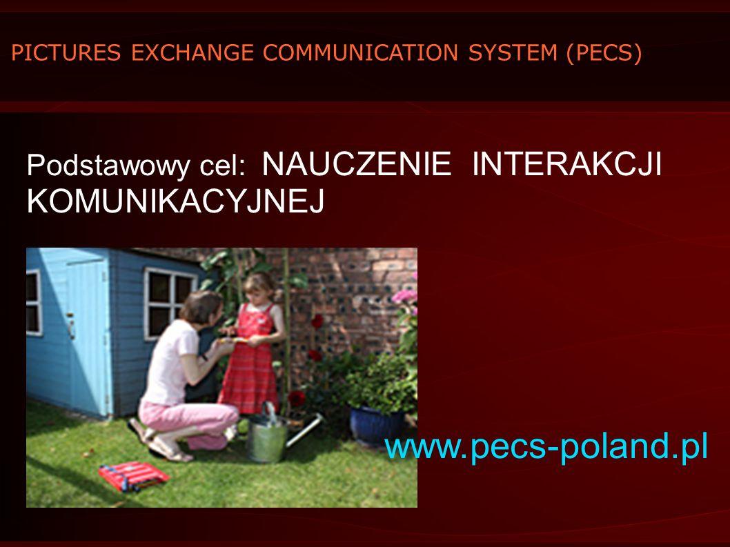 PICTURES EXCHANGE COMMUNICATION SYSTEM (PECS) Podstawowy cel: NAUCZENIE INTERAKCJI KOMUNIKACYJNEJ www.pecs-poland.pl