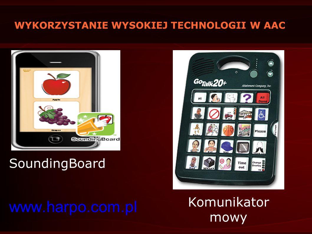 WYKORZYSTANIE WYSOKIEJ TECHNOLOGII W AAC SoundingBoard www.harpo.com.pl Komunikator mowy