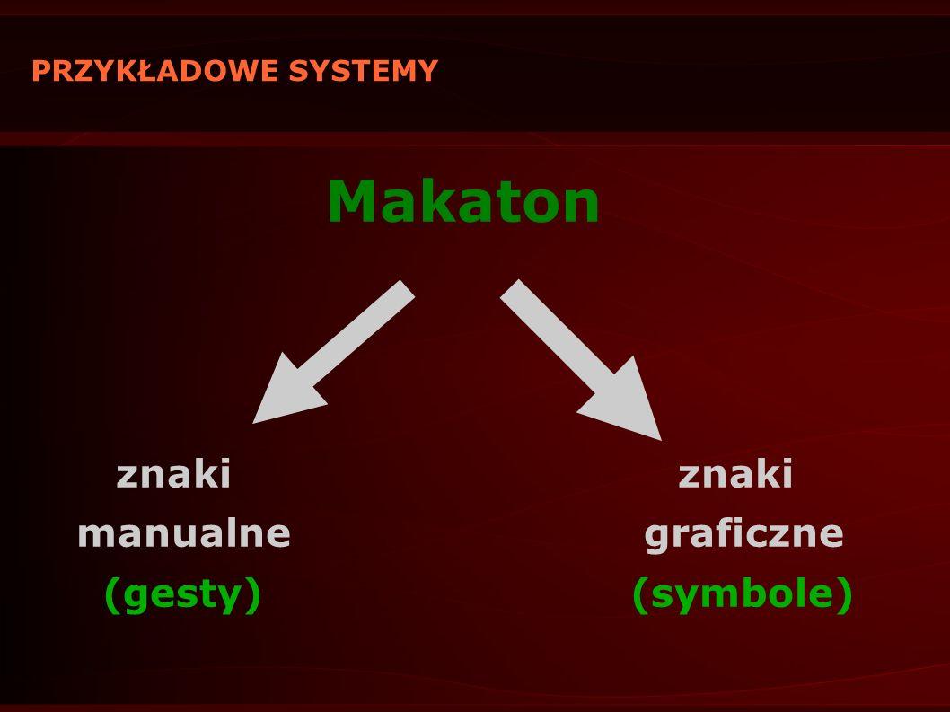 PRZYKŁADOWE SYSTEMY Makaton znaki znaki manualne graficzne (gesty) (symbole)