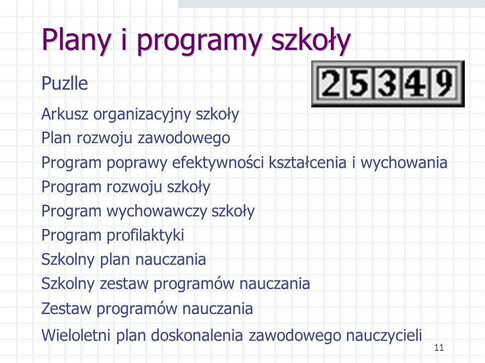 11 Plany i programy szkoły Puzlle Arkusz organizacyjny szkoły Plan rozwoju zawodowego Program poprawy efektywności kształcenia i wychowania Program ro