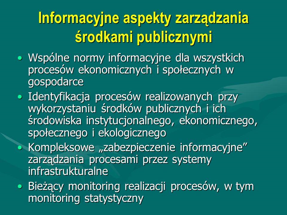 Informacyjne aspekty zarządzania środkami publicznymi Wspólne normy informacyjne dla wszystkich procesów ekonomicznych i społecznych w gospodarceWspól