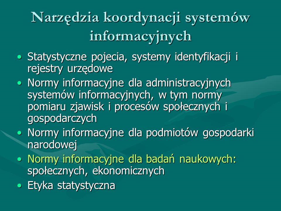 Narzędzia koordynacji systemów informacyjnych Statystyczne pojecia, systemy identyfikacji i rejestry urzędoweStatystyczne pojecia, systemy identyfikac