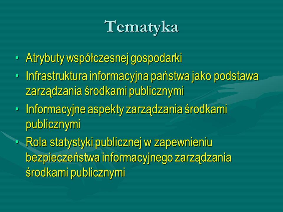 Tematyka Atrybuty współczesnej gospodarkiAtrybuty współczesnej gospodarki Infrastruktura informacyjna państwa jako podstawa zarządzania środkami publi