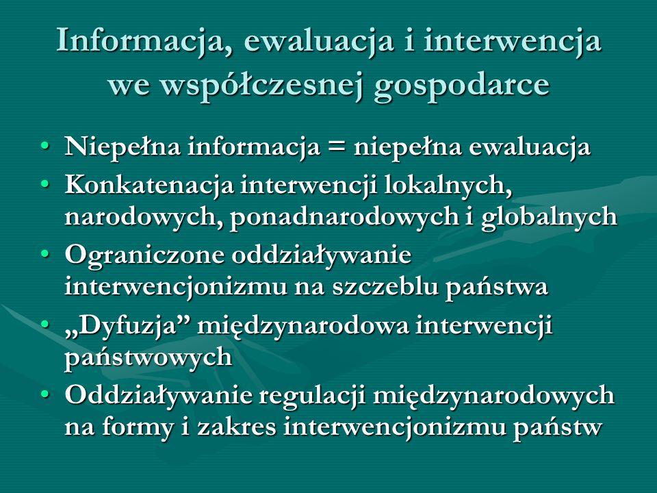 Wnioski dla instrumentalizacji interwencjonizmu Potrzeba kompleksowej, jakościowo dobrej informacjiPotrzeba kompleksowej, jakościowo dobrej informacji –odwzorowującej procesy realne i finansowe, –kompleksowej, aktualnej, –zgodnej z normami międzynarodowymi, –dostępnej jako dobro publiczne, –odwzorowanej w językach wszystkich uczestników procesów ekonomicznych Symetria informacyjna uczestników – warunkiem skutecznego interwencjonizmuSymetria informacyjna uczestników – warunkiem skutecznego interwencjonizmu Ewaluacja interwencji wymaga symetrii informacyjnej miedzy wszystkimi uczestnikami procesówEwaluacja interwencji wymaga symetrii informacyjnej miedzy wszystkimi uczestnikami procesów