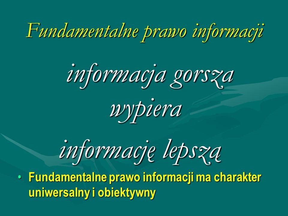 Informacja gorsza wypiera informację lepszą Wraz z rozwojem społeczeństwa informacyjnego i gospodarki opartej na wiedzyWraz z rozwojem społeczeństwa informacyjnego i gospodarki opartej na wiedzy –Udział informacji dobrej jest coraz mniejszy, a informacji złej - coraz większy –Rosną luki informacyjne, także nie identyfikowane Urynkowienie procesów informacyjnych powoduje przyspieszenie wypierania dobrej informacji przez gorszą informacjęUrynkowienie procesów informacyjnych powoduje przyspieszenie wypierania dobrej informacji przez gorszą informację –Pogarsza się jakość produkowanej informacji –Pogarsza się jakość użytkowania informacji SI + GOW + WOLNY RYNEK = zasypanie świata śmieciami informacyjnymi SI + GOW + WOLNY RYNEK = zasypanie świata śmieciami informacyjnymi