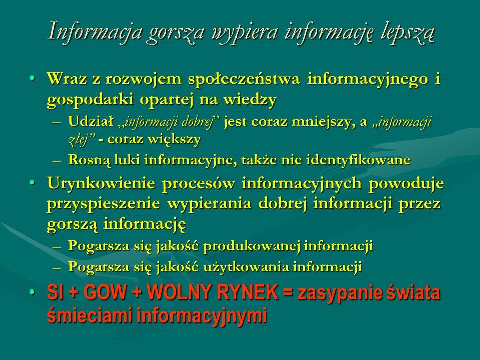 Informacja gorsza wypiera informację lepszą Wraz z rozwojem społeczeństwa informacyjnego i gospodarki opartej na wiedzyWraz z rozwojem społeczeństwa i