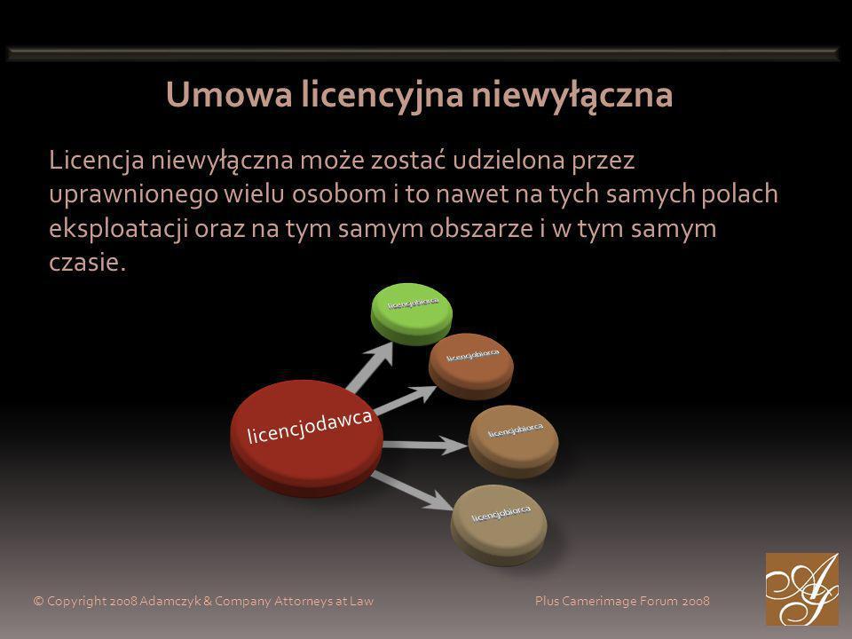 Umowa licencyjna niewyłączna Licencja niewyłączna może zostać udzielona przez uprawnionego wielu osobom i to nawet na tych samych polach eksploatacji oraz na tym samym obszarze i w tym samym czasie.