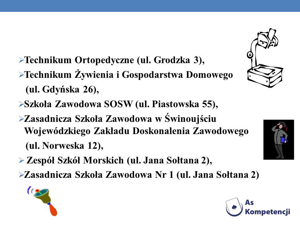 Technikum Ortopedyczne (ul. Grodzka 3), Technikum Żywienia i Gospodarstwa Domowego (ul. Gdyńska 26), Szkoła Zawodowa SOSW (ul. Piastowska 55), Zasadni