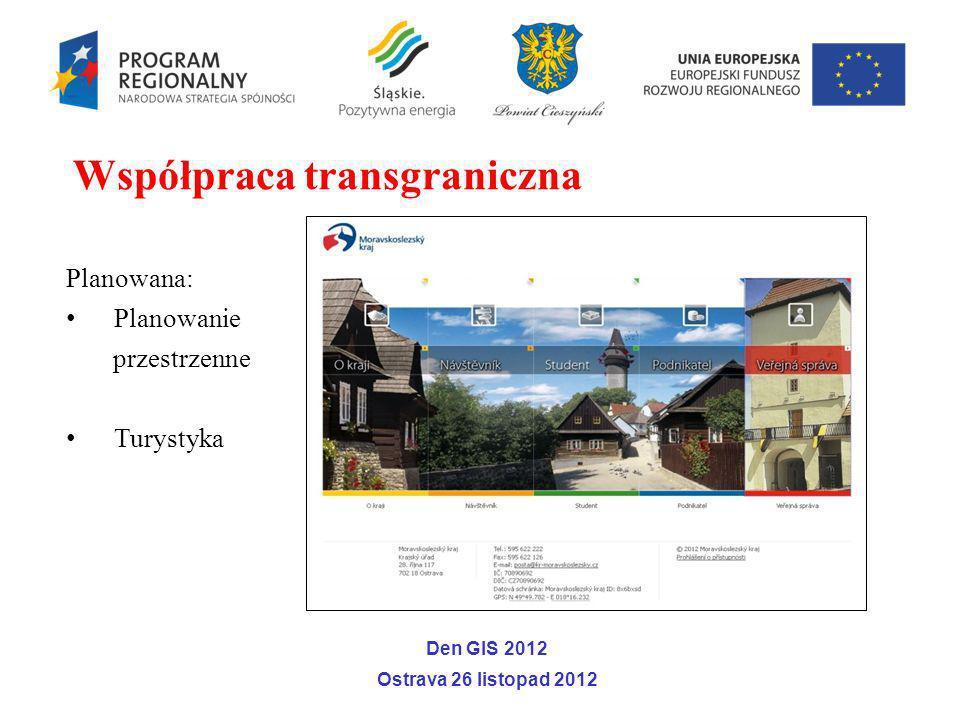 Planowana: Planowanie przestrzenne Turystyka Współpraca transgraniczna Den GIS 2012 Ostrava 26 listopad 2012