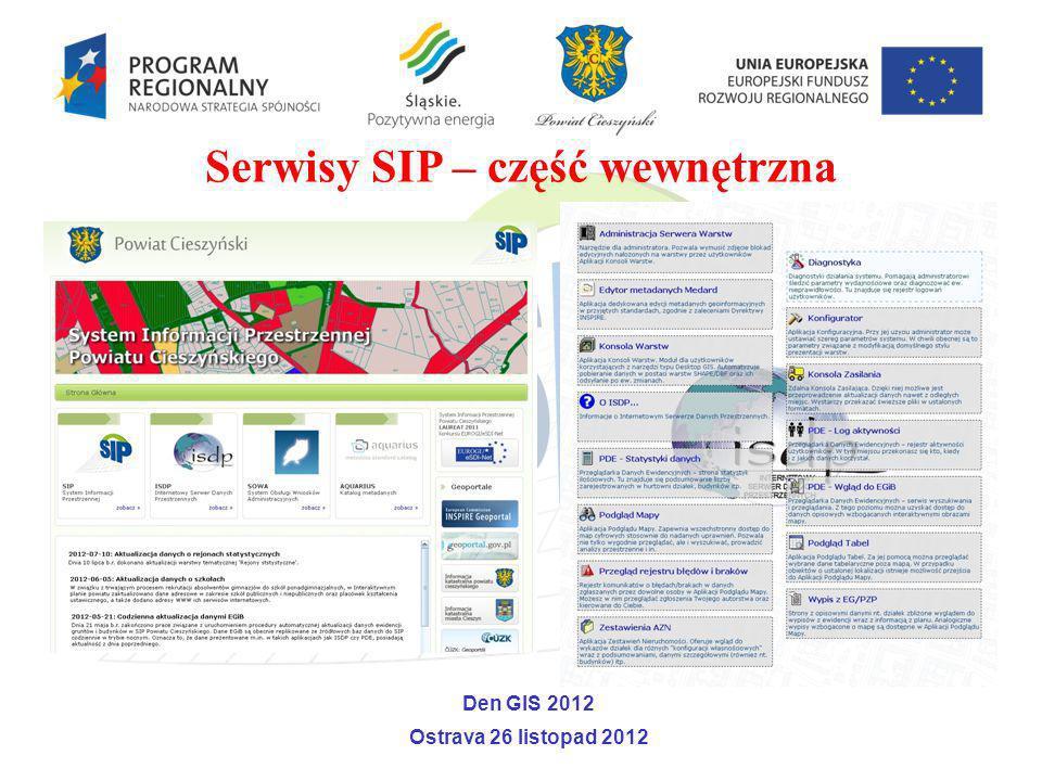 Serwisy SIP – część wewnętrzna Den GIS 2012 Ostrava 26 listopad 2012