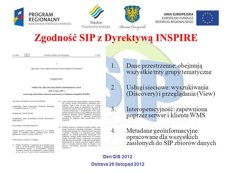 Zgodność SIP z Dyrektywą INSPIRE 1.Dane przestrzenne: obejmują wszystkie trzy grupy tematyczne 2.Usługi sieciowe: wyszukiwania (Discovery) i przegląda