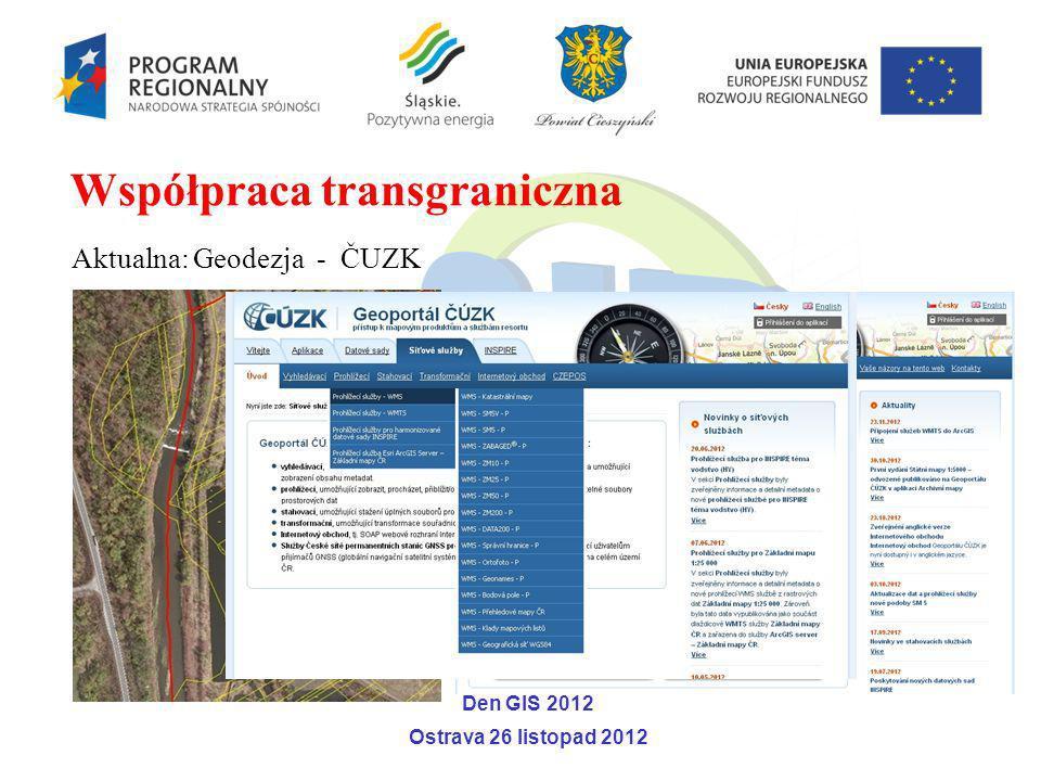 Aktualna: Geodezja - ČUZK Współpraca transgraniczna Den GIS 2012 Ostrava 26 listopad 2012