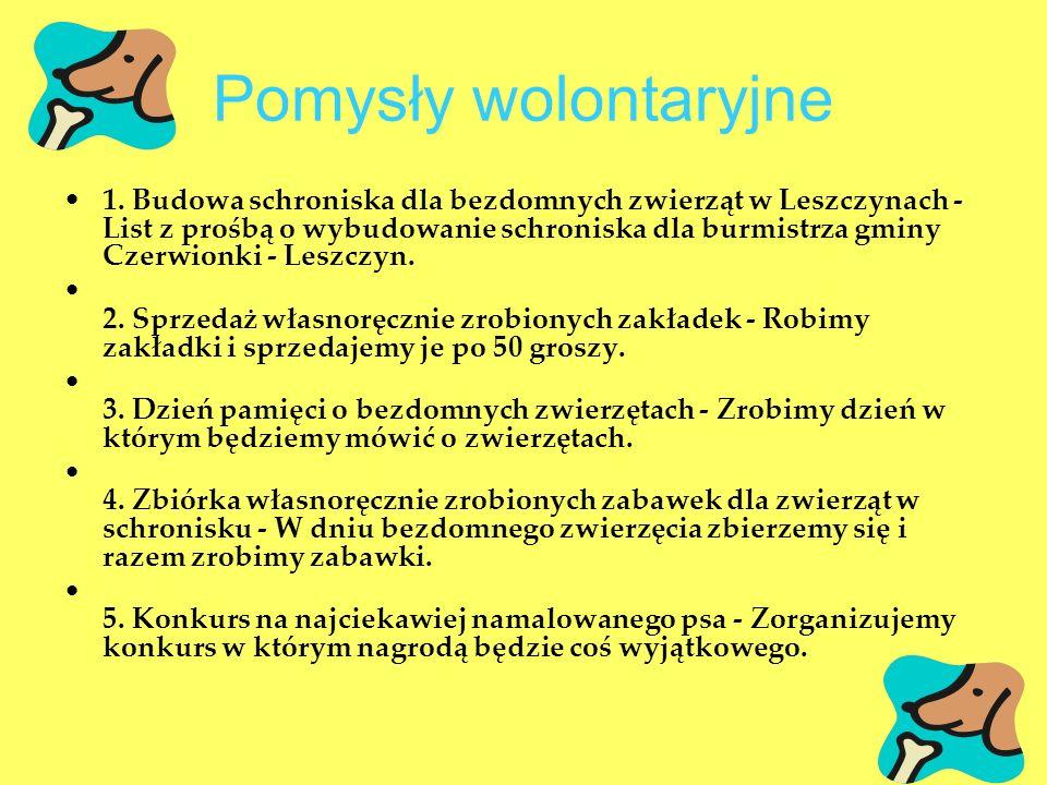 Pomysły wolontaryjne 1. Budowa schroniska dla bezdomnych zwierząt w Leszczynach - List z prośbą o wybudowanie schroniska dla burmistrza gminy Czerwion