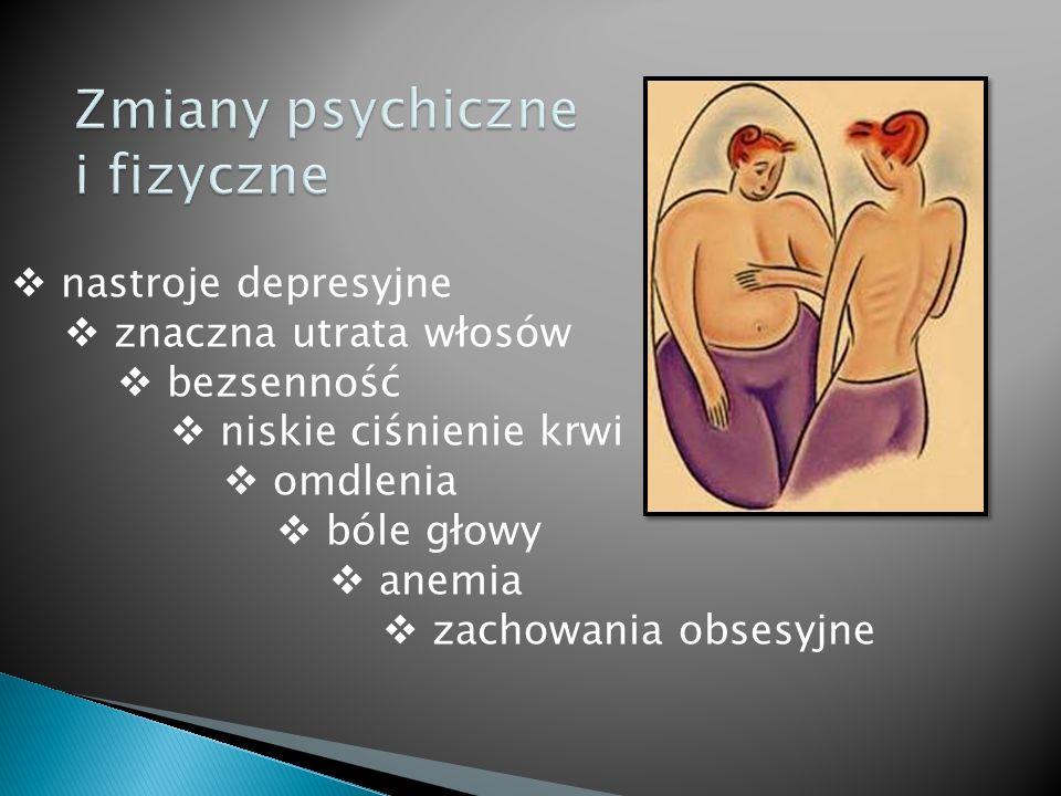 nastroje depresyjne znaczna utrata włosów bezsenność niskie ciśnienie krwi omdlenia bóle głowy anemia zachowania obsesyjne