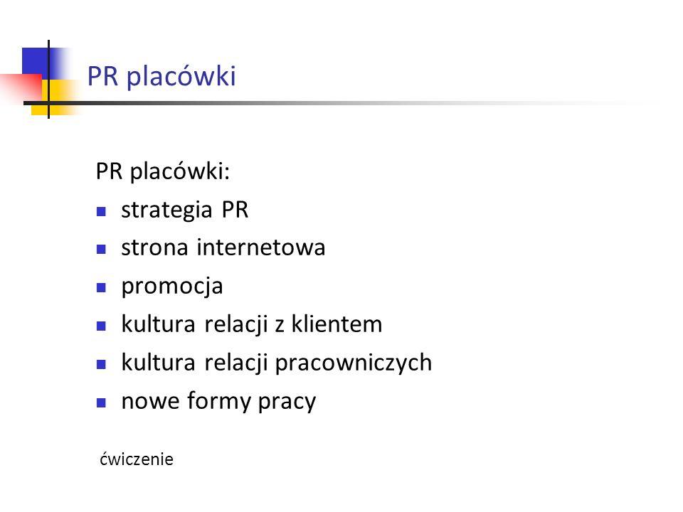 PR placówki PR placówki: strategia PR strona internetowa promocja kultura relacji z klientem kultura relacji pracowniczych nowe formy pracy ćwiczenie
