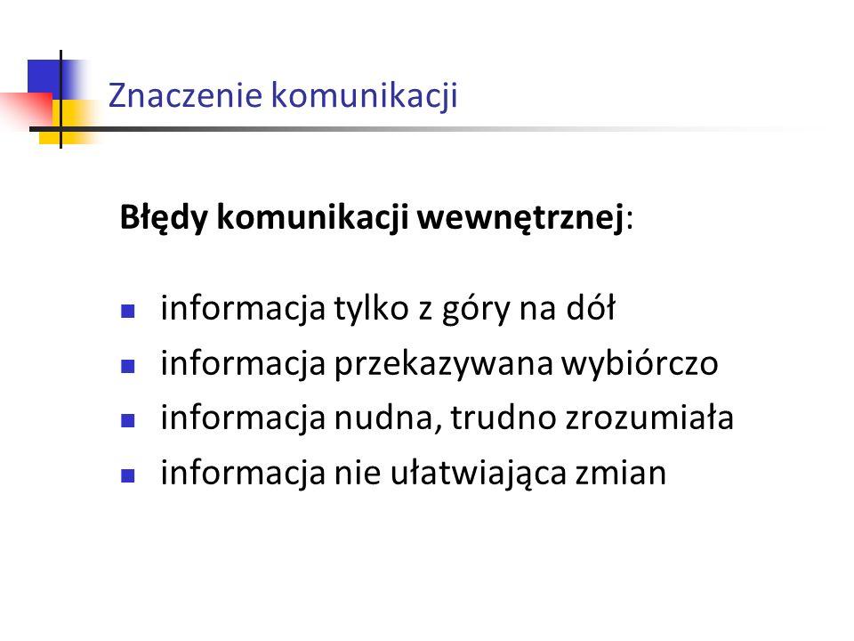 Znaczenie komunikacji Błędy komunikacji wewnętrznej: informacja tylko z góry na dół informacja przekazywana wybiórczo informacja nudna, trudno zrozumi