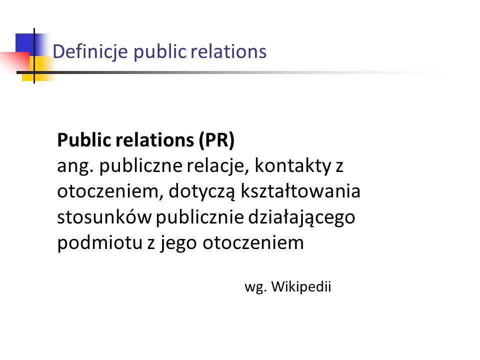Public relations (PR) ang. publiczne relacje, kontakty z otoczeniem, dotyczą kształtowania stosunków publicznie działającego podmiotu z jego otoczenie