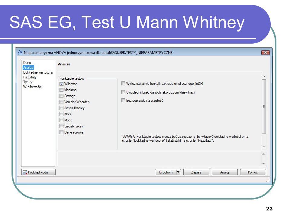 23 SAS EG, Test U Mann Whitney