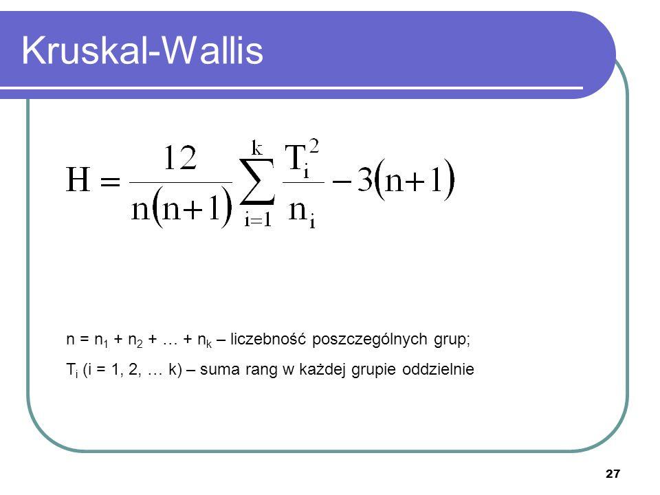 27 Kruskal-Wallis n = n 1 + n 2 + … + n k – liczebność poszczególnych grup; T i (i = 1, 2, … k) – suma rang w każdej grupie oddzielnie