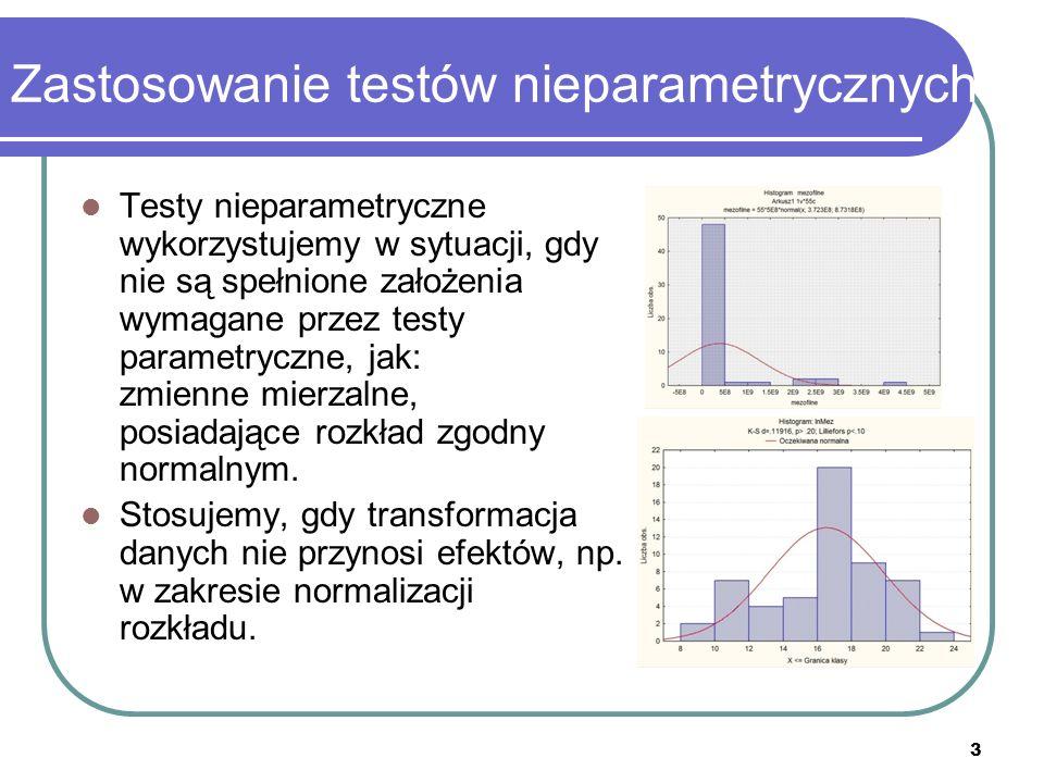 3 Zastosowanie testów nieparametrycznych Testy nieparametryczne wykorzystujemy w sytuacji, gdy nie są spełnione założenia wymagane przez testy paramet