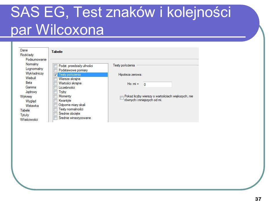 37 SAS EG, Test znaków i kolejności par Wilcoxona