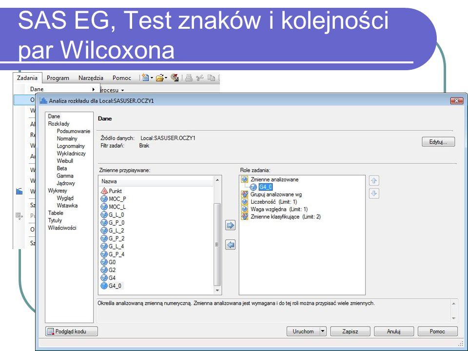 38 SAS EG, Test znaków i kolejności par Wilcoxona