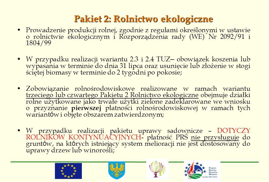 Pakiet 2: Rolnictwo ekologiczne Prowadzenie produkcji rolnej, zgodnie z regułami określonymi w ustawie o rolnictwie ekologicznym i Rozporządzenia rady