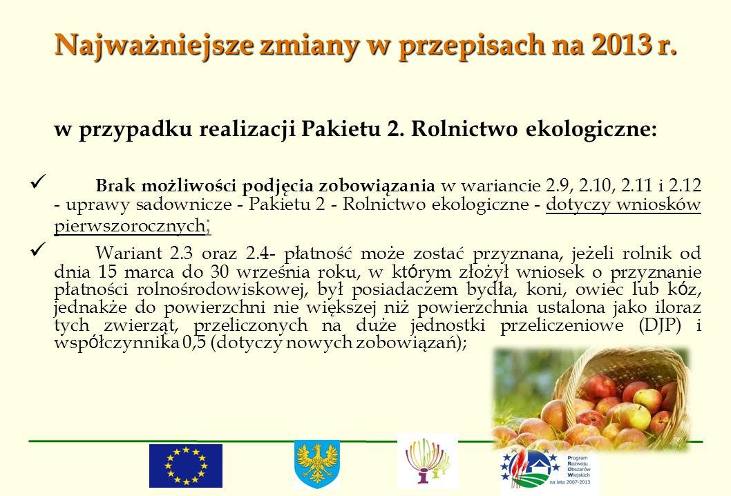 Najważniejsze zmiany w przepisach na 2013 r. w przypadku realizacji Pakietu 2. Rolnictwo ekologiczne: Brak możliwości podjęcia zobowiązania w warianci