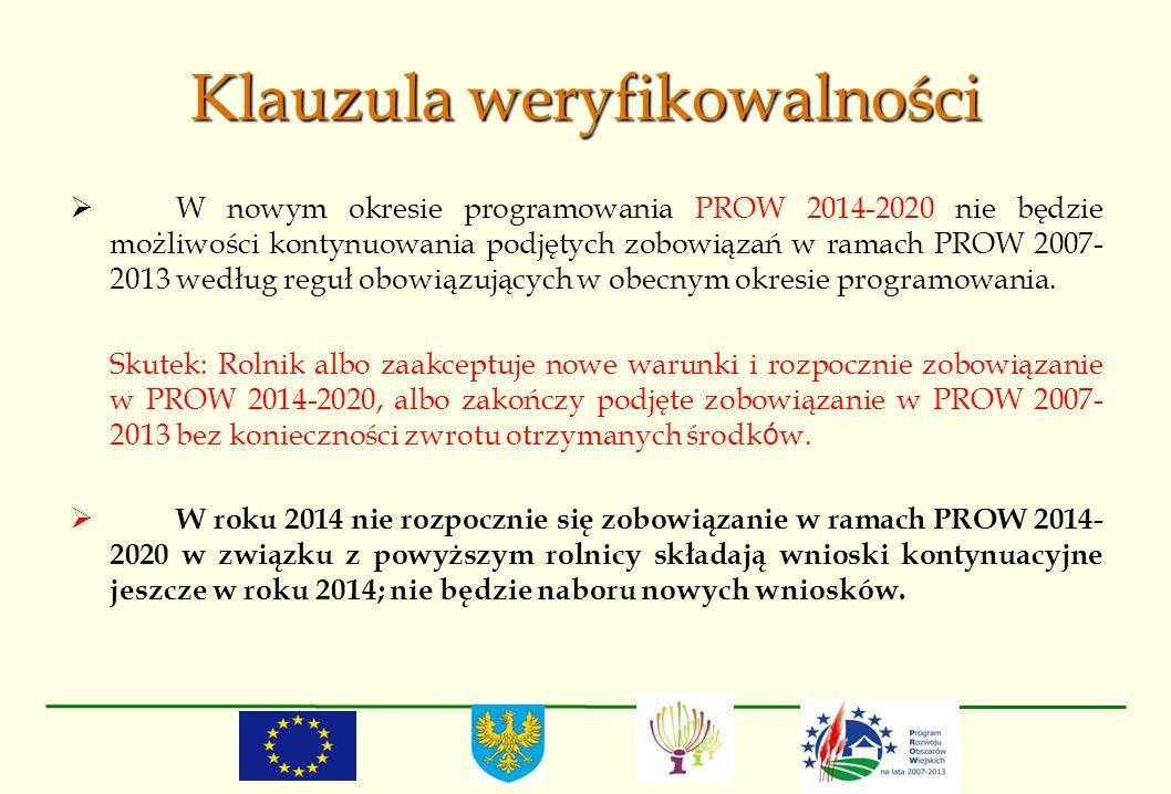 Klauzula weryfikowalności W nowym okresie programowania PROW 2014-2020 nie będzie możliwości kontynuowania podjętych zobowiązań w ramach PROW 2007- 20