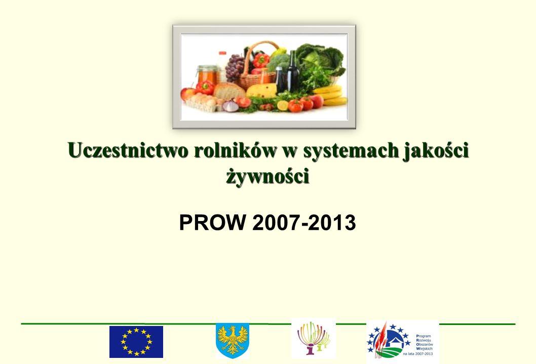 Uczestnictwo rolników w systemach jakości żywności PROW 2007-2013