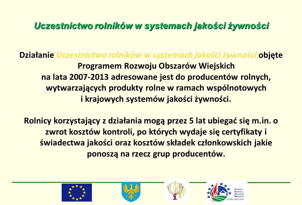 Uczestnictwo rolników w systemach jakości żywności Działanie Uczestnictwo rolników w systemach jakości żywności objęte Programem Rozwoju Obszarów Wiej