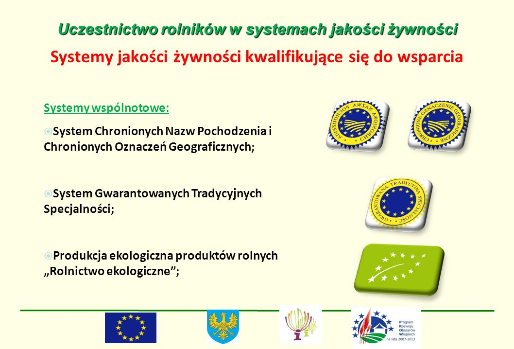 Uczestnictwo rolników w systemach jakości żywności Systemy jakości żywności kwalifikujące się do wsparcia Systemy wspólnotowe: System Chronionych Nazw