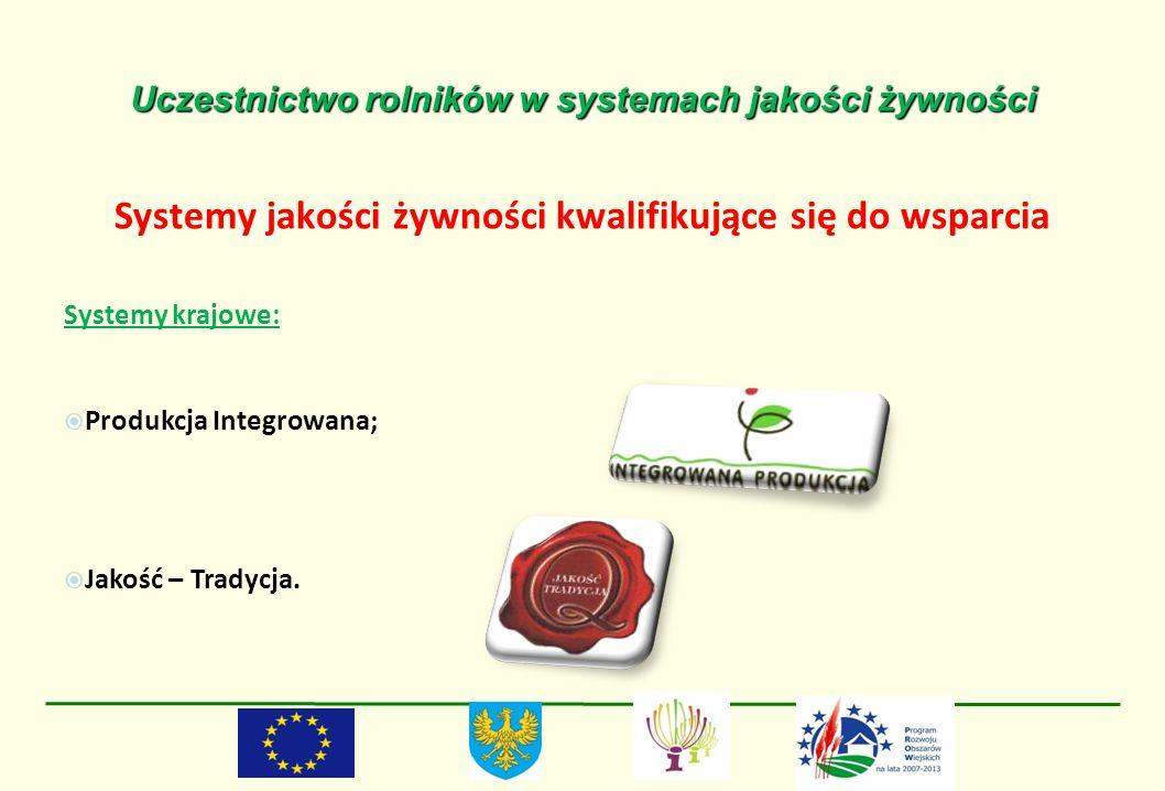 Uczestnictwo rolników w systemach jakości żywności Systemy jakości żywności kwalifikujące się do wsparcia Systemy krajowe: Produkcja Integrowana; Jako