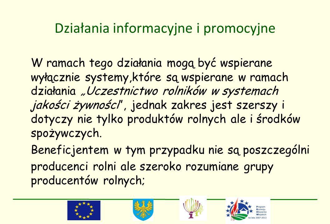 Działania informacyjne i promocyjne W ramach tego działania mogą być wspierane wyłącznie systemy,które są wspierane w ramach działania Uczestnictwo ro