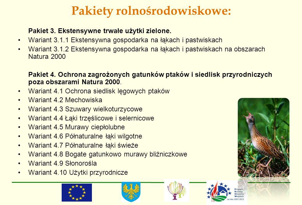 Pakiety rolnośrodowiskowe: Pakiet 3. Ekstensywne trwałe użytki zielone. Wariant 3.1.1 Ekstensywna gospodarka na łąkach i pastwiskach Wariant 3.1.2 Eks