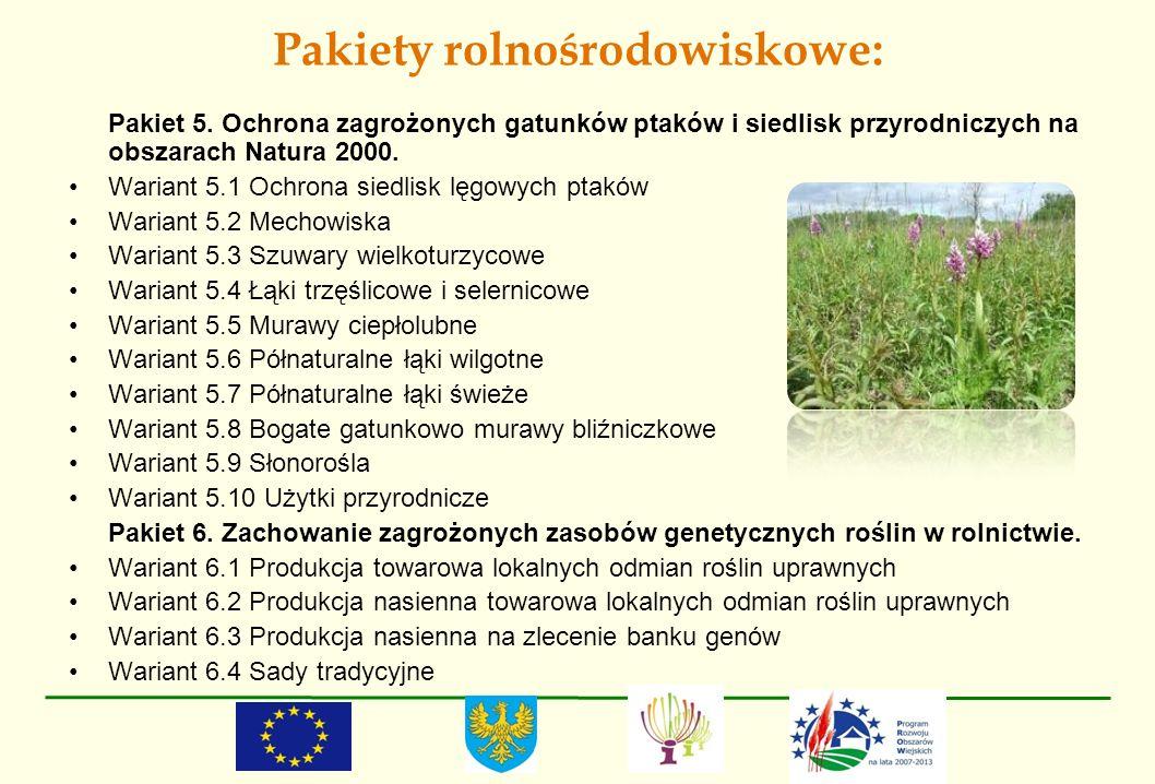 Pakiety rolnośrodowiskowe: Pakiet 5. Ochrona zagrożonych gatunków ptaków i siedlisk przyrodniczych na obszarach Natura 2000. Wariant 5.1 Ochrona siedl