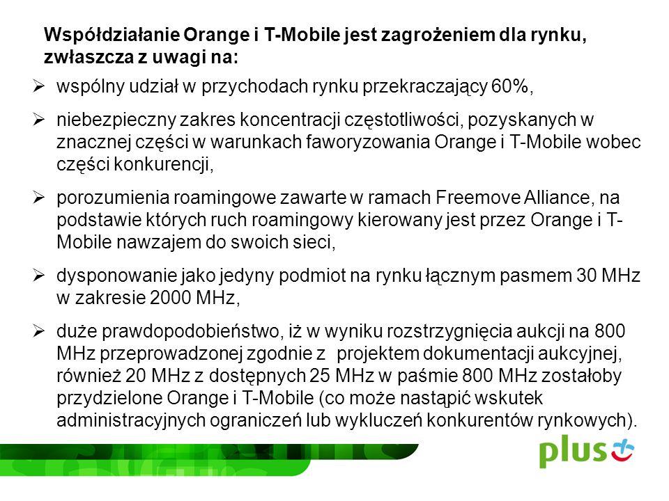 Współpraca Orange i T-Mobile może doprowadzić do szybkiego wzrostu wolumenu sprzedaży usług Orange i T-Mobile, posiadających już ponad 60% udziału w rynku, kosztem istotnego spadku sprzedaży usług ich konkurentów.