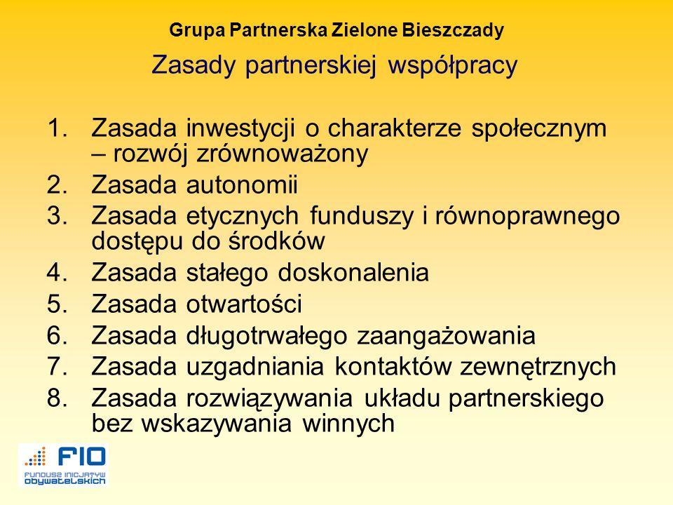 Grupa Partnerska Zielone Bieszczady Cechy dobrego partnerstwa : Partnerstwo jest czymś więcej niż tylko sumą swoich części Uwzględnia uczenie się i ad