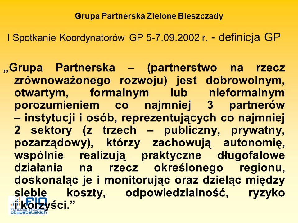 Grupa Partnerska Zielone Bieszczady Zasady partnerskiej współpracy 1.Zasada inwestycji o charakterze społecznym – rozwój zrównoważony 2.Zasada autonom