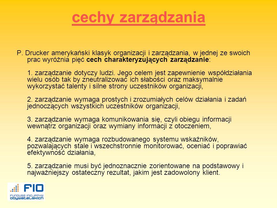 funkcje zarządzania Działania składające się na proces zarządzania to funkcje zarządzania. Działania te układają się logicznie w ciąg funkcji zarządza