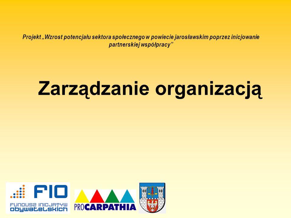 Zarządzanie organizacją Projekt Wzrost potencjału sektora społecznego w powiecie jarosławskim poprzez inicjowanie partnerskiej współpracy