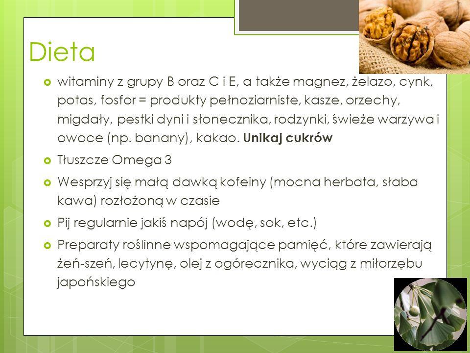 Ergonomia uczenia się Nie ucz się po obfitym posiłku; Jedz przekąski i uzupełniaj dietę Otaczaj się też aromatem bazylii lub rozmarynu – poprawiają ak