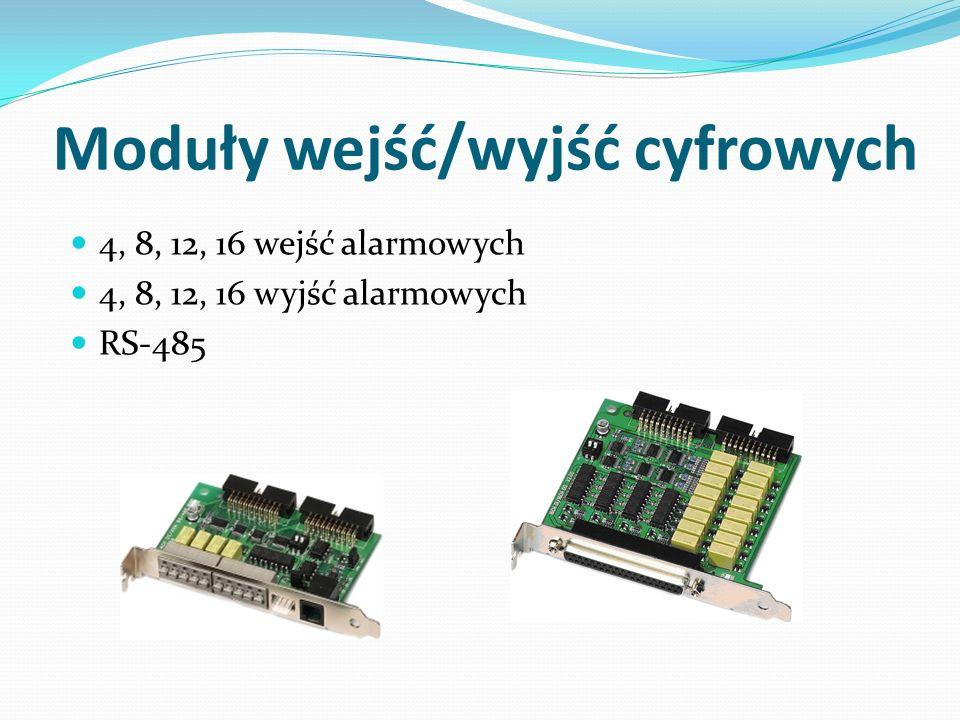 Moduły wejść/wyjść cyfrowych 4, 8, 12, 16 wejść alarmowych 4, 8, 12, 16 wyjść alarmowych RS-485