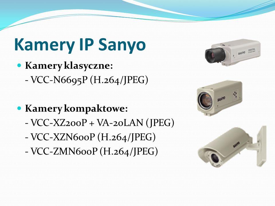 Kamery IP Sanyo Kamery klasyczne: - VCC-N6695P (H.264/JPEG) Kamery kompaktowe: - VCC-XZ200P + VA-20LAN (JPEG) - VCC-XZN600P (H.264/JPEG) - VCC-ZMN600P