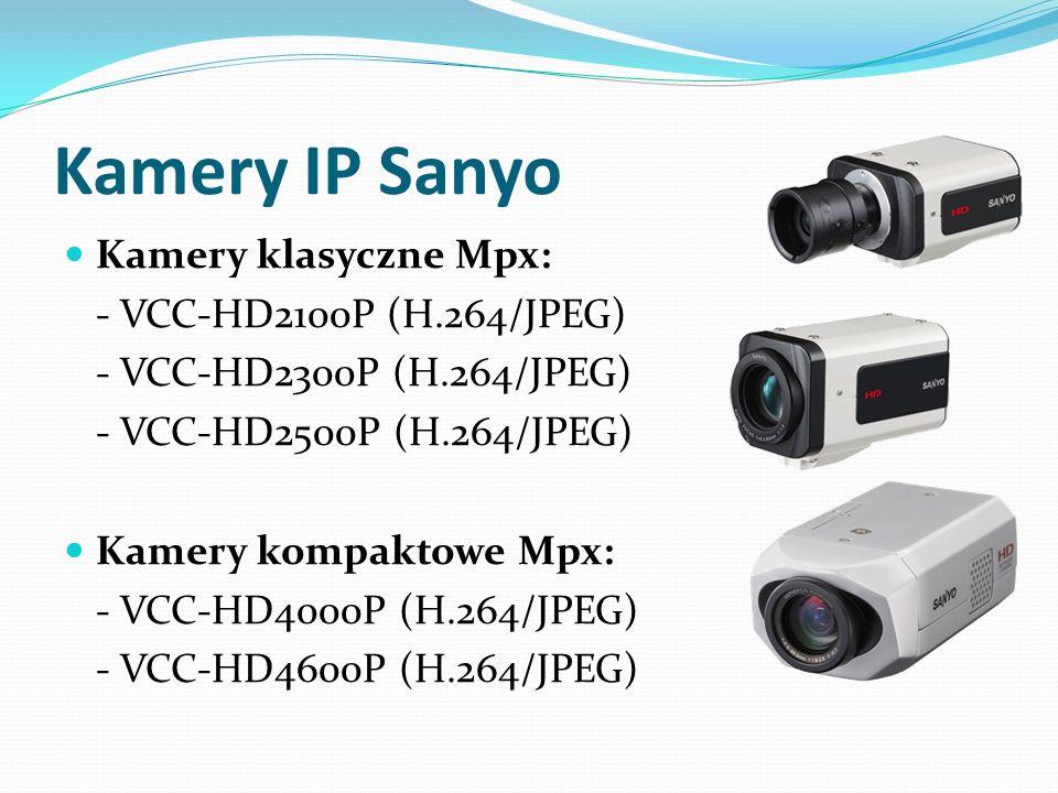 Kamery IP Sanyo Kamery klasyczne Mpx: - VCC-HD2100P (H.264/JPEG) - VCC-HD2300P (H.264/JPEG) - VCC-HD2500P (H.264/JPEG) Kamery kompaktowe Mpx: - VCC-HD