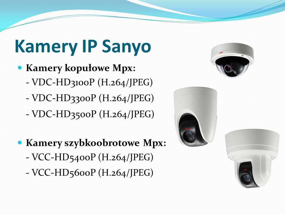 Kamery kopułowe Mpx: - VDC-HD3100P (H.264/JPEG) - VDC-HD3300P (H.264/JPEG) - VDC-HD3500P (H.264/JPEG) Kamery szybkoobrotowe Mpx: - VCC-HD5400P (H.264/
