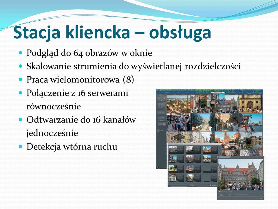 Stacja kliencka – obsługa Podgląd do 64 obrazów w oknie Skalowanie strumienia do wyświetlanej rozdzielczości Praca wielomonitorowa (8) Połączenie z 16