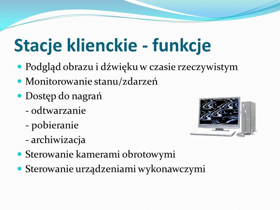 Stacje serwerowe - elementy Stacja robocza: komputer PC Oprogramowanie serwerowe (NetHybrid/NetStation/PRS) Sprzętowy klucz licencji (USB) Karty wideo Karty audio Karty wejść/wyjść cyfrowych Wideoserwery Moduły kas fiskalnych (POS)