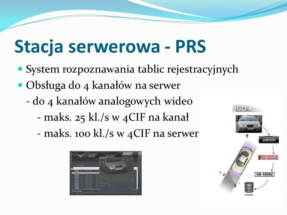 Stacja serwerowa - PRS System rozpoznawania tablic rejestracyjnych Obsługa do 4 kanałów na serwer - do 4 kanałów analogowych wideo - maks. 25 kl./s w
